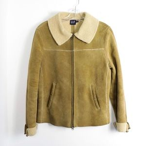 Genuine sheepskin shearling leather suede jacket M
